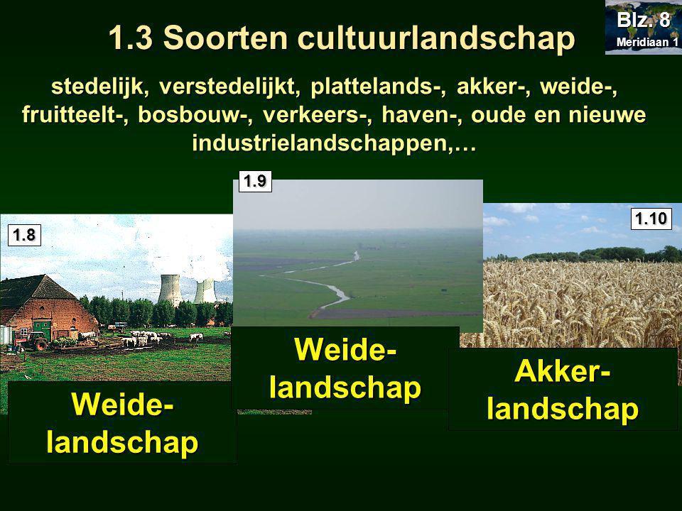 stedelijk, verstedelijkt, plattelands-, akker-, weide-, fruitteelt-, bosbouw-, verkeers-, haven-, oude en nieuwe industrielandschappen,… Meridiaan 1 Meridiaan 1 Blz.