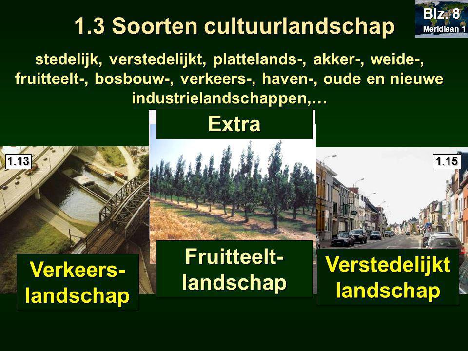 stedelijk, verstedelijkt, plattelands-, akker-, weide-, fruitteelt-, bosbouw-, verkeers-, haven-, oude en nieuwe industrielandschappen,… 1.13 1.15 1.14 Verkeers- landschap Haven- landschap Verstedelijkt landschap Meridiaan 1 Meridiaan 1 Blz.