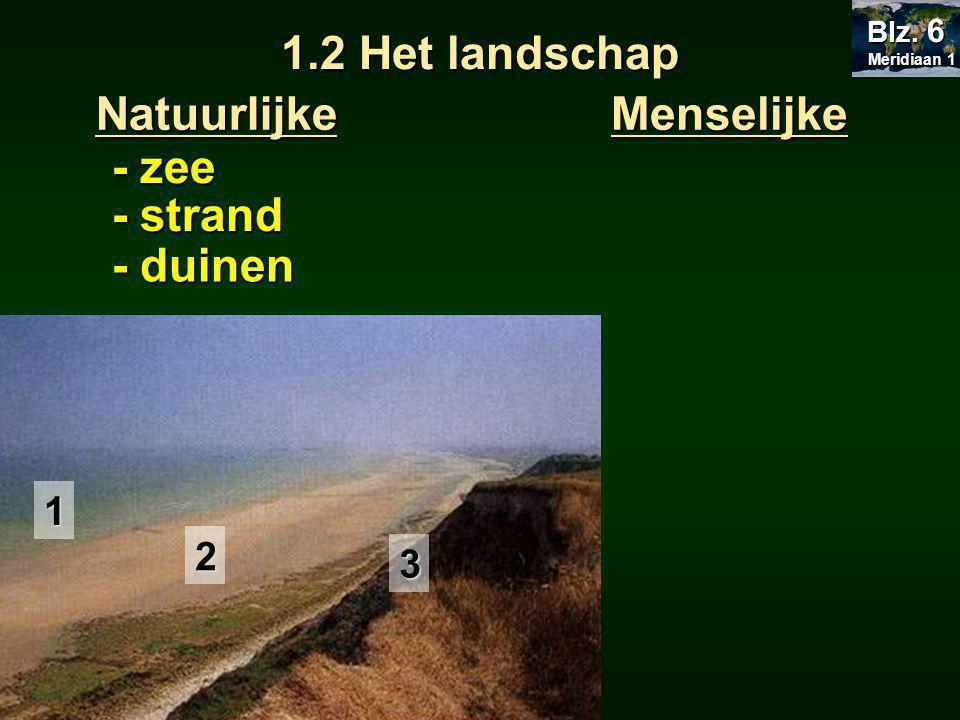 1.2 Het landschap MenselijkeNatuurlijke - zee - strand - duinen 1 2 3 Meridiaan 1 Meridiaan 1 Blz.