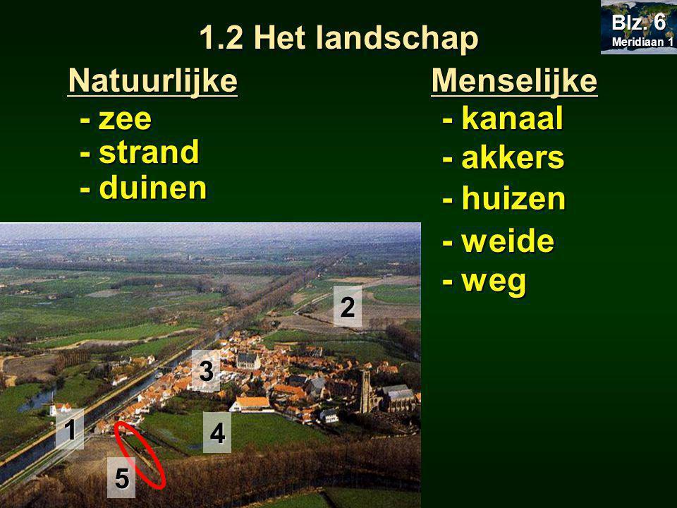 1.2 Het landschap natuurlandschap Wanneer de natuurlijke landschapselementen overheersen: Wanneer de menselijke landschapselementen overheersen: cultuurlandschap door de mens 'in cultuur' gebracht Meridiaan 1 Meridiaan 1 Blz.