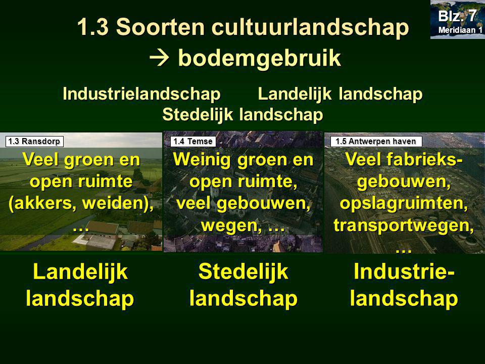 1.3 Soorten cultuurlandschap Industrielandschap Landelijk landschap Stedelijk landschap .