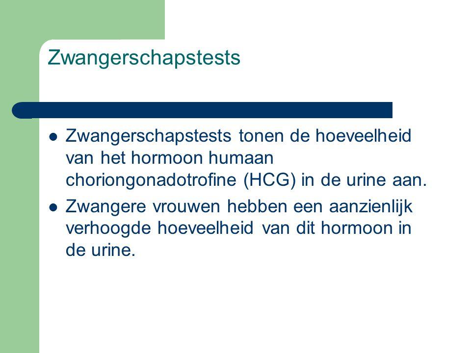 Zwangerschapstests  Zwangerschapstests tonen de hoeveelheid van het hormoon humaan choriongonadotrofine (HCG) in de urine aan.  Zwangere vrouwen heb