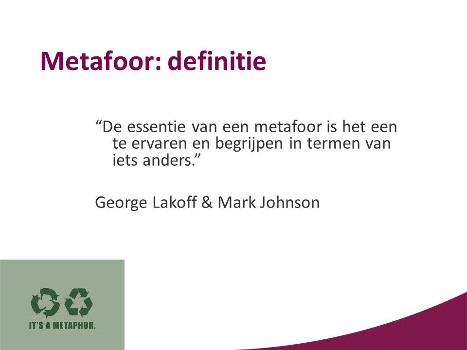 """Metafoor: definitie """"De essentie van een metafoor is het een te ervaren en begrijpen in termen van iets anders."""" George Lakoff & Mark Johnson"""
