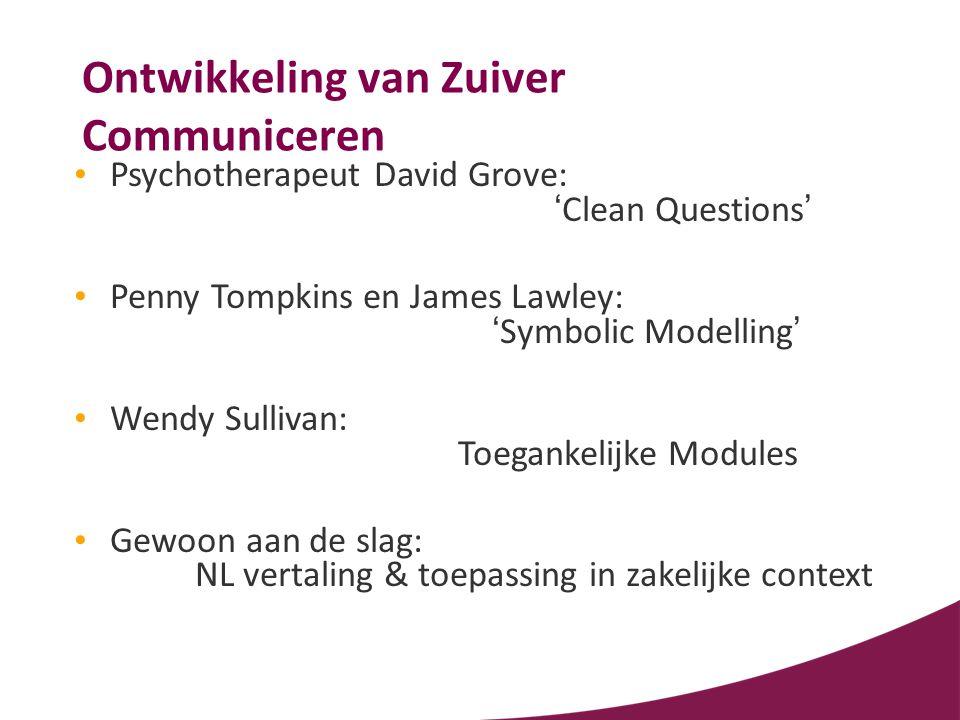 Ontwikkeling van Zuiver Communiceren • Psychotherapeut David Grove: 'Clean Questions' • Penny Tompkins en James Lawley: 'Symbolic Modelling' • Wendy S