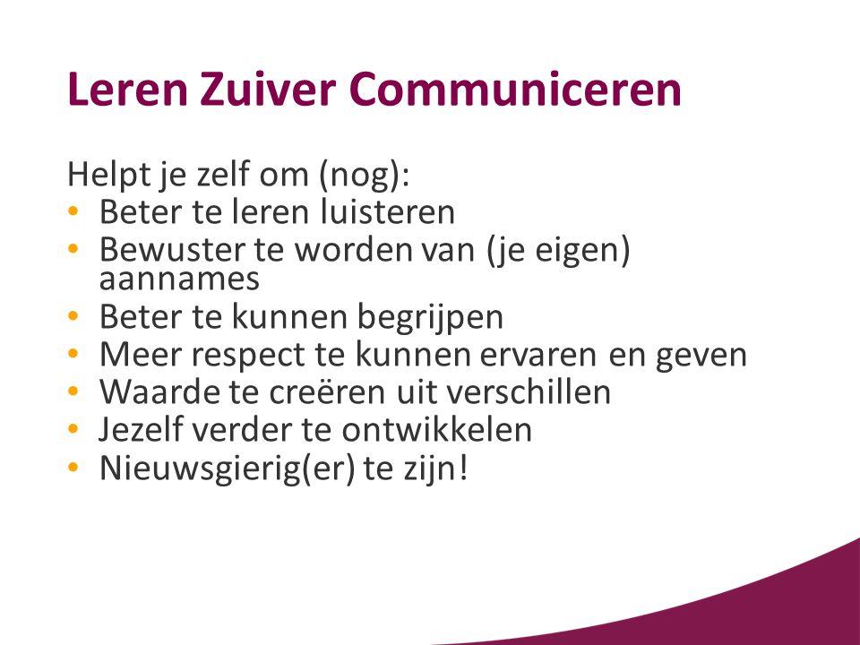 Leren Zuiver Communiceren Helpt je zelf om (nog): • Beter te leren luisteren • Bewuster te worden van (je eigen) aannames • Beter te kunnen begrijpen