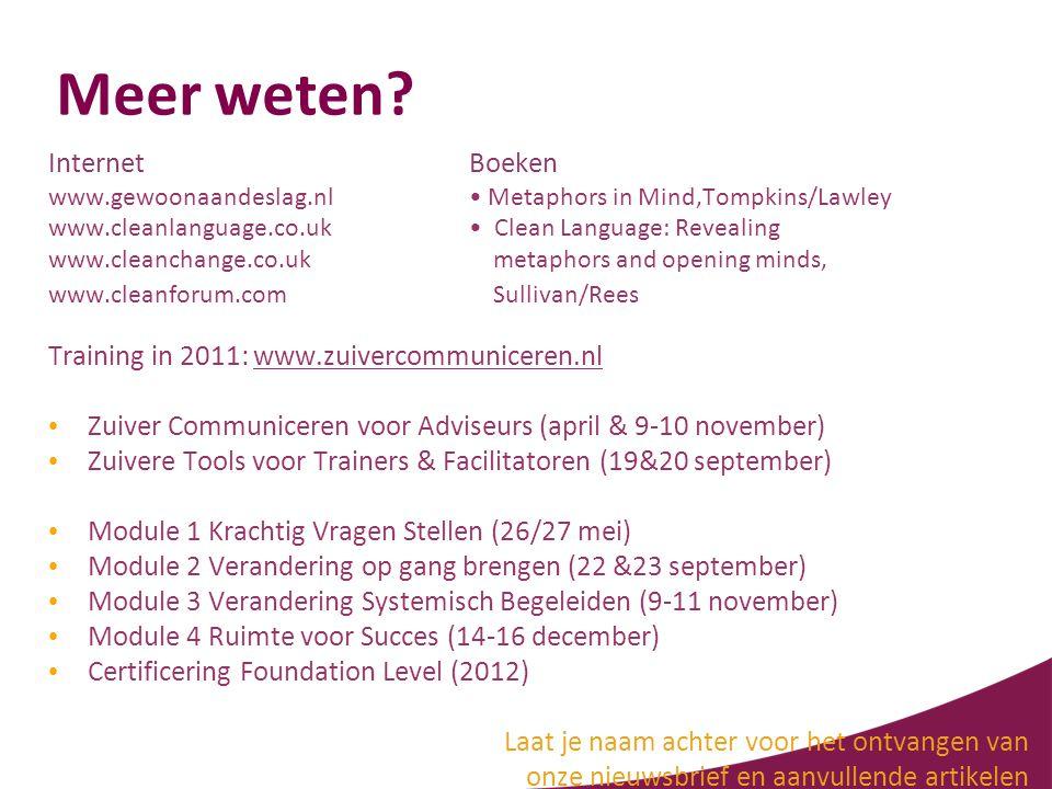 Meer weten? Internet Boeken www.gewoonaandeslag.nl• Metaphors in Mind,Tompkins/Lawley www.cleanlanguage.co.uk• Clean Language: Revealing www.cleanchan