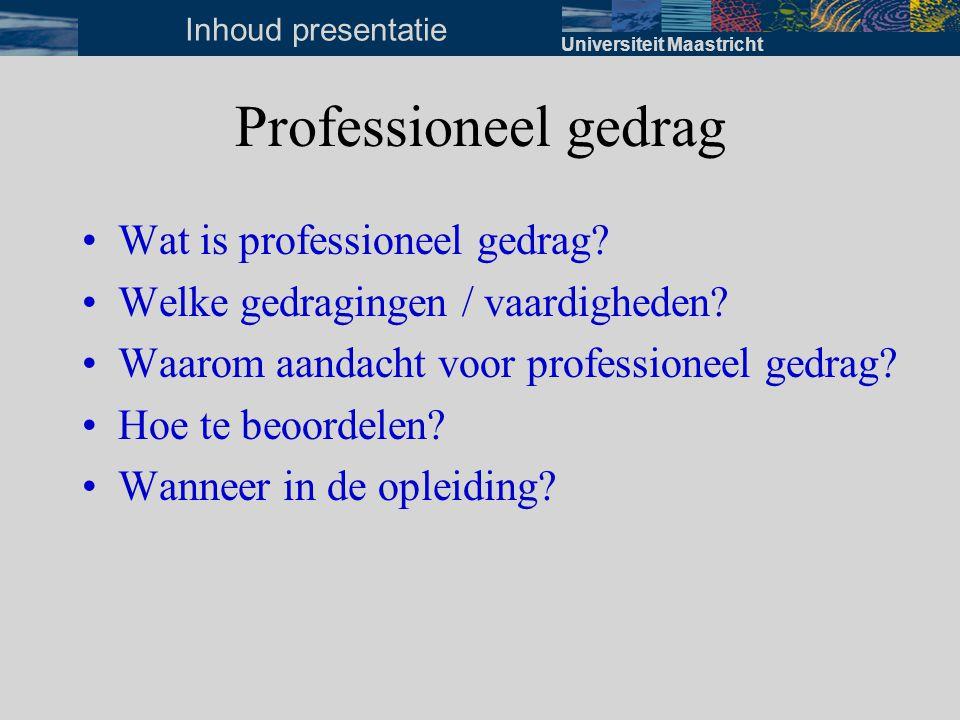 Universiteit Maastricht Wat is professioneel gedrag? Professioneel gedrag, wat is dat eigenlijk??