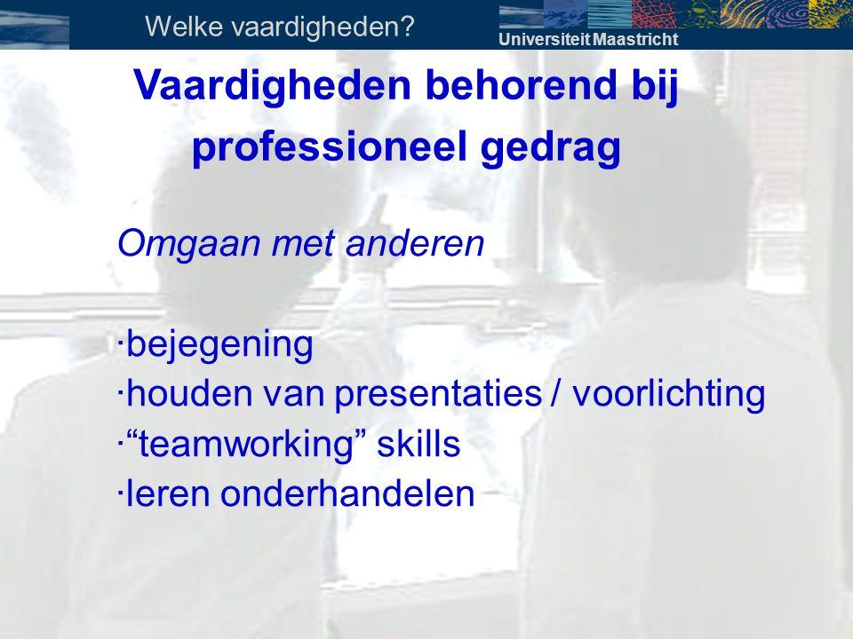 """Vaardigheden behorend bij professioneel gedrag Omgaan met anderen · bejegening · houden van presentaties / voorlichting · """"teamworking"""" skills · leren"""