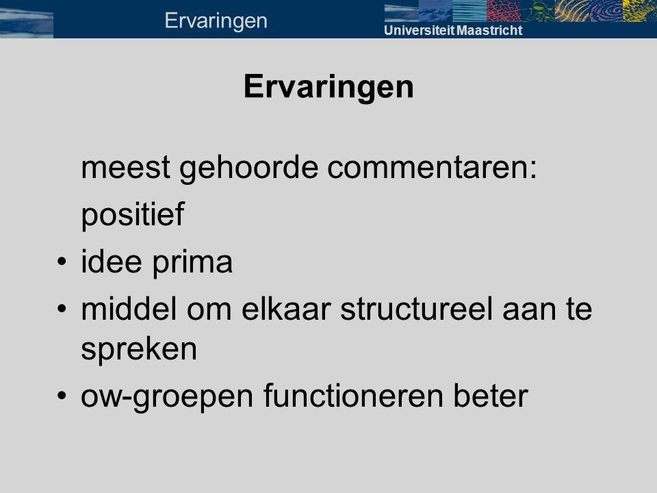 meest gehoorde commentaren: positief •idee prima •middel om elkaar structureel aan te spreken •ow-groepen functioneren beter Universiteit Maastricht E