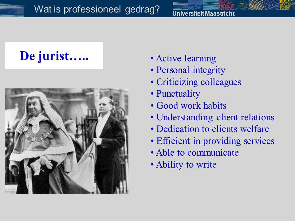 Vaardigheden behorend bij professioneel gedrag Omgaan met anderen · bejegening · houden van presentaties / voorlichting · teamworking skills · leren onderhandelen Universiteit Maastricht Welke vaardigheden?