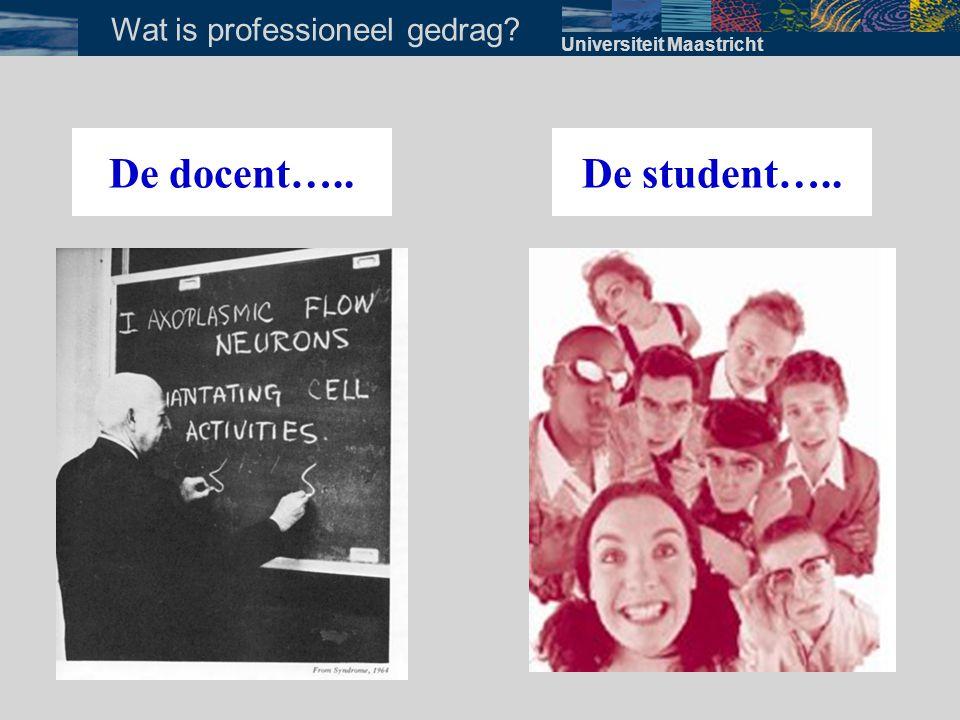 Universiteit Maastricht Wat is professioneel gedrag? De docent…..De student…..