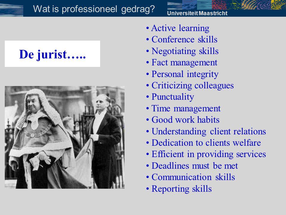Universiteit Maastricht Wat is professioneel gedrag? De jurist….. • Active learning • Conference skills • Negotiating skills • Fact management • Perso
