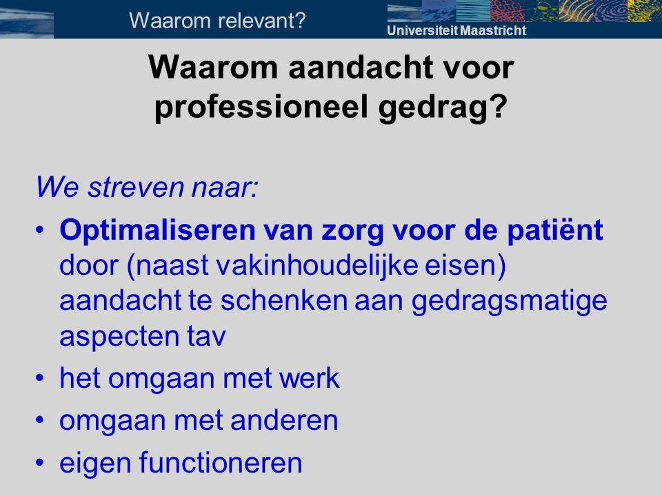 Waarom aandacht voor professioneel gedrag? We streven naar: •Optimaliseren van zorg voor de patiënt door (naast vakinhoudelijke eisen) aandacht te sch