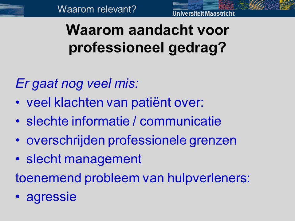 Waarom aandacht voor professioneel gedrag? Er gaat nog veel mis: •veel klachten van patiënt over: •slechte informatie / communicatie •overschrijden pr