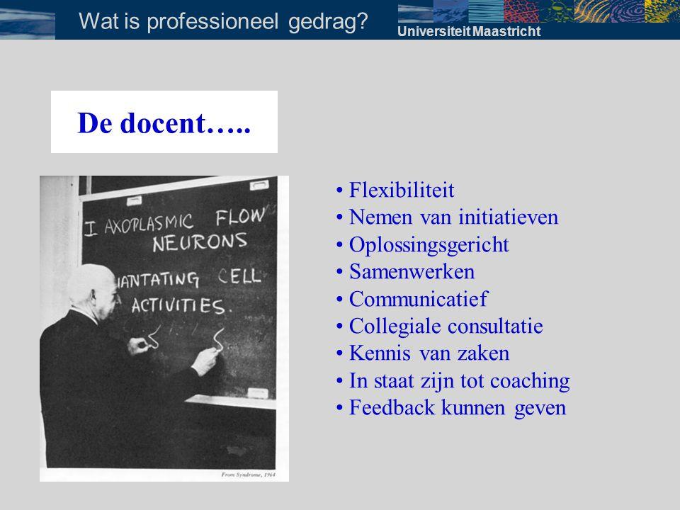 Universiteit Maastricht Wat is professioneel gedrag? De docent….. • Flexibiliteit • Nemen van initiatieven • Oplossingsgericht • Samenwerken • Communi