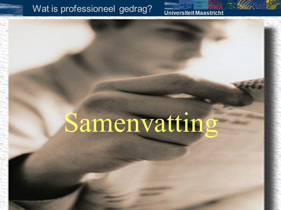 WANNEER samengevat •Gedurende het gehele opleidingstraject en latere beroepsuitoefening behoort er aandacht geschonken te worden aan aspecten van professioneel gedrag Universiteit Maastricht Wanneer bespreken?