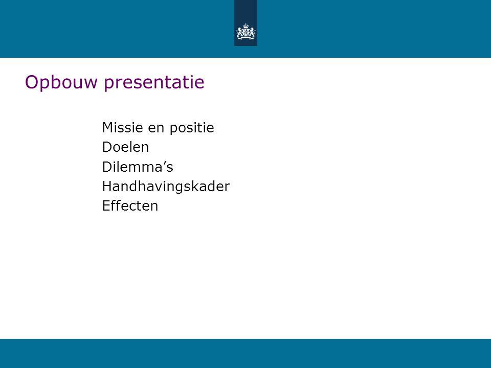 Opbouw presentatie Missie en positie Doelen Dilemma's Handhavingskader Effecten