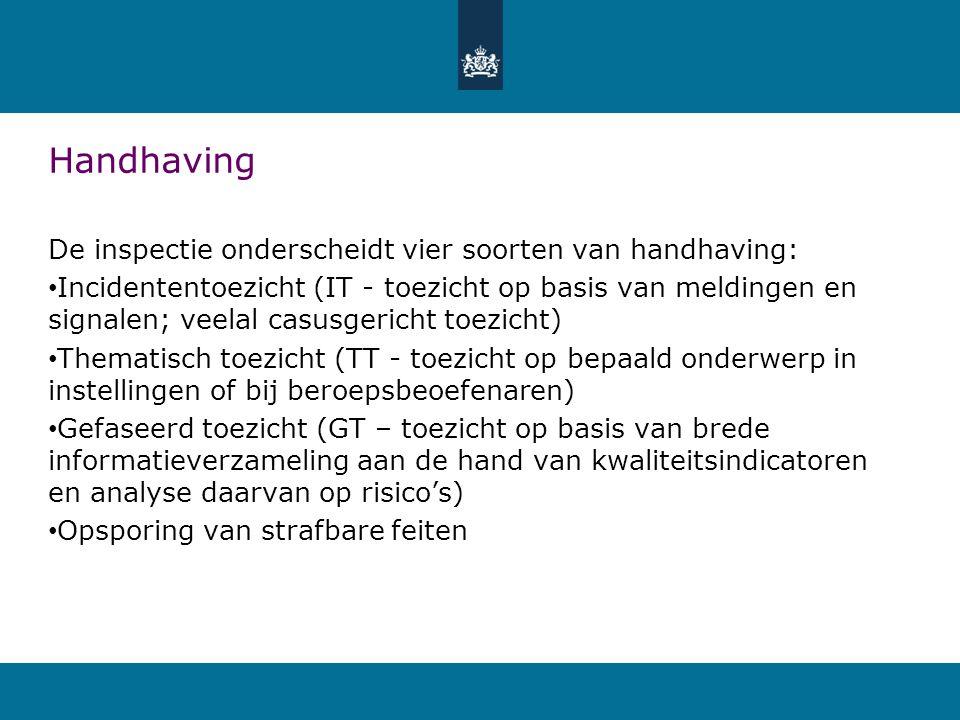 Handhaving De inspectie onderscheidt vier soorten van handhaving: • Incidententoezicht (IT - toezicht op basis van meldingen en signalen; veelal casus