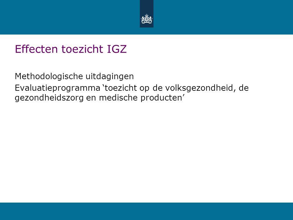 Effecten toezicht IGZ Methodologische uitdagingen Evaluatieprogramma 'toezicht op de volksgezondheid, de gezondheidszorg en medische producten'