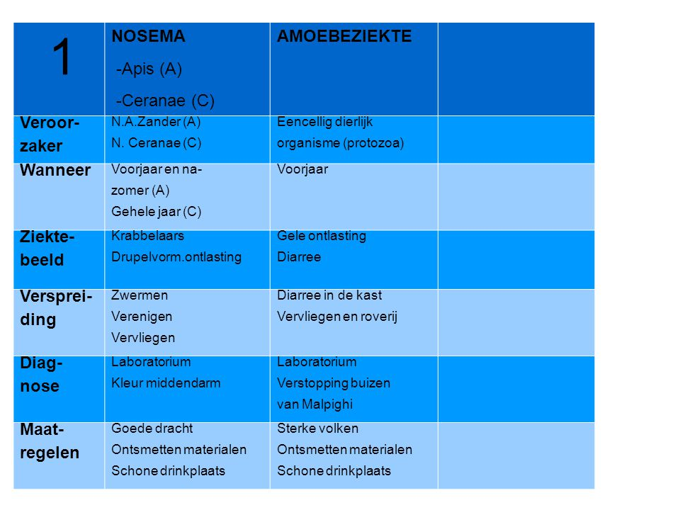 1 NOSEMA -Apis (A) -Ceranae (C) AMOEBEZIEKTE Veroor- zaker N.A.Zander (A) N. Ceranae (C) Eencellig dierlijk organisme (protozoa) Wanneer Voorjaar en n