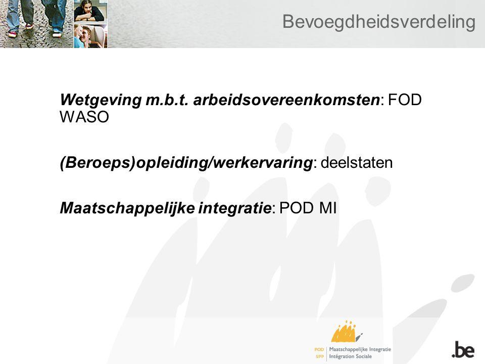 Bevoegdheidsverdeling Wetgeving m.b.t.