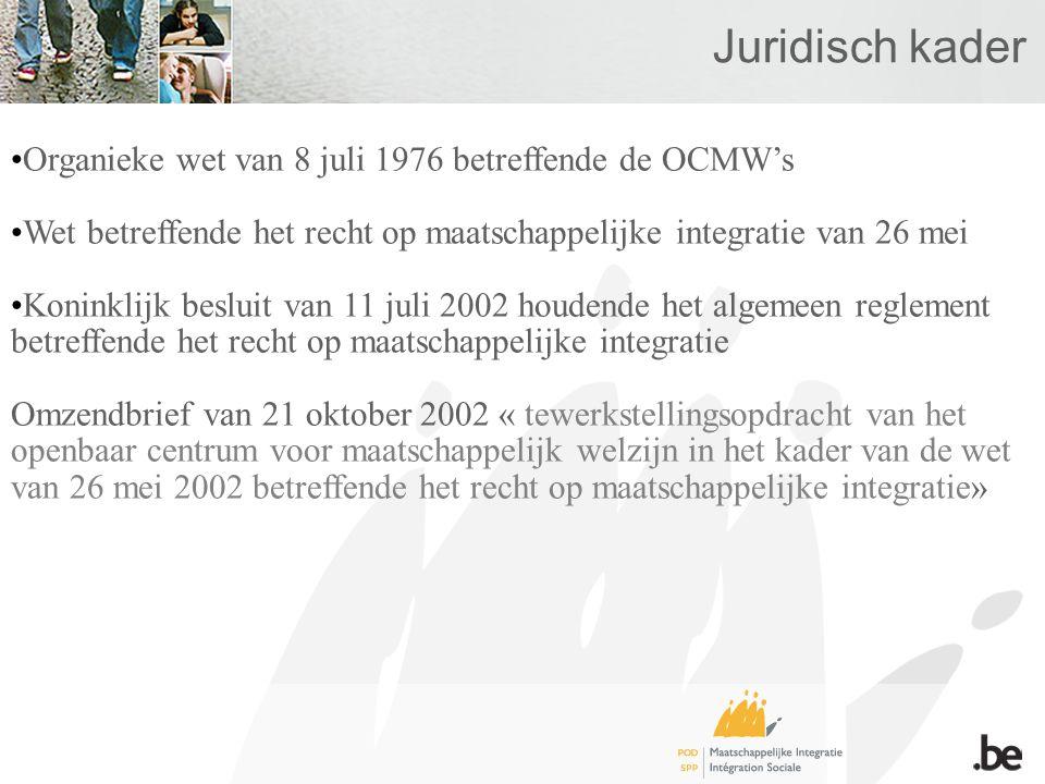 Juridisch kader •Organieke wet van 8 juli 1976 betreffende de OCMW's •Wet betreffende het recht op maatschappelijke integratie van 26 mei •Koninklijk besluit van 11 juli 2002 houdende het algemeen reglement betreffende het recht op maatschappelijke integratie Omzendbrief van 21 oktober 2002 « tewerkstellingsopdracht van het openbaar centrum voor maatschappelijk welzijn in het kader van de wet van 26 mei 2002 betreffende het recht op maatschappelijke integratie»