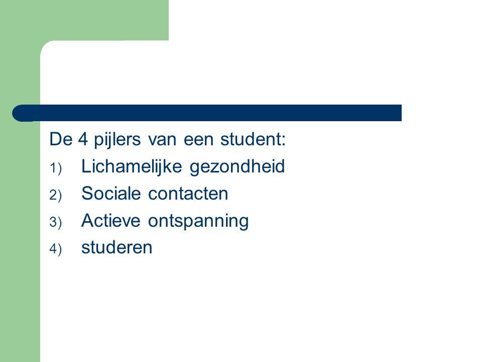 De 4 pijlers van een student: 1) Lichamelijke gezondheid 2) Sociale contacten 3) Actieve ontspanning 4) studeren