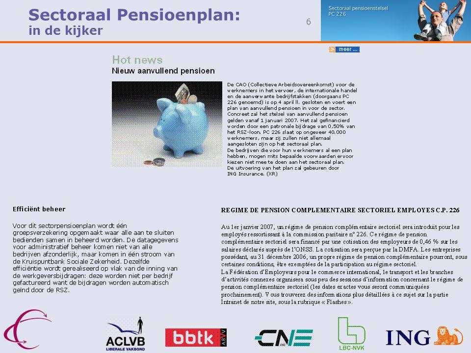6 Sectoraal Pensioenplan: in de kijker