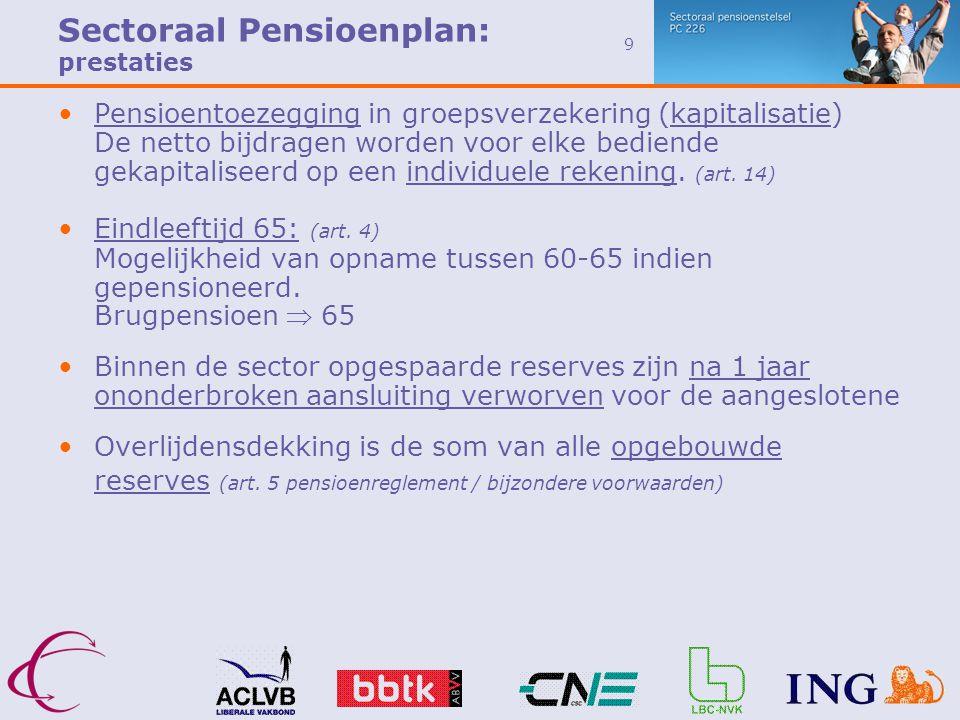 9 •Pensioentoezegging in groepsverzekering (kapitalisatie) De netto bijdragen worden voor elke bediende gekapitaliseerd op een individuele rekening.
