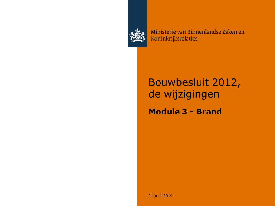 22 Voortzetting programma  Brandcompartimenten (2.10)  Subbrandcompartimenten (2.11)  Vluchten (2.12)  Sterkte bij brand (2.2)  Materialen (2.9)  Hulpverlening bij brand (2.13, 6.8)  Veiligheidszonde en plasbrandgebied (2.16)  Brandbeveiligingsinstallaties (6,1, 6.5, 6.6, 6.7)  Gebruiksvoorschriften (7.1, 7.2) 24 juni 2014