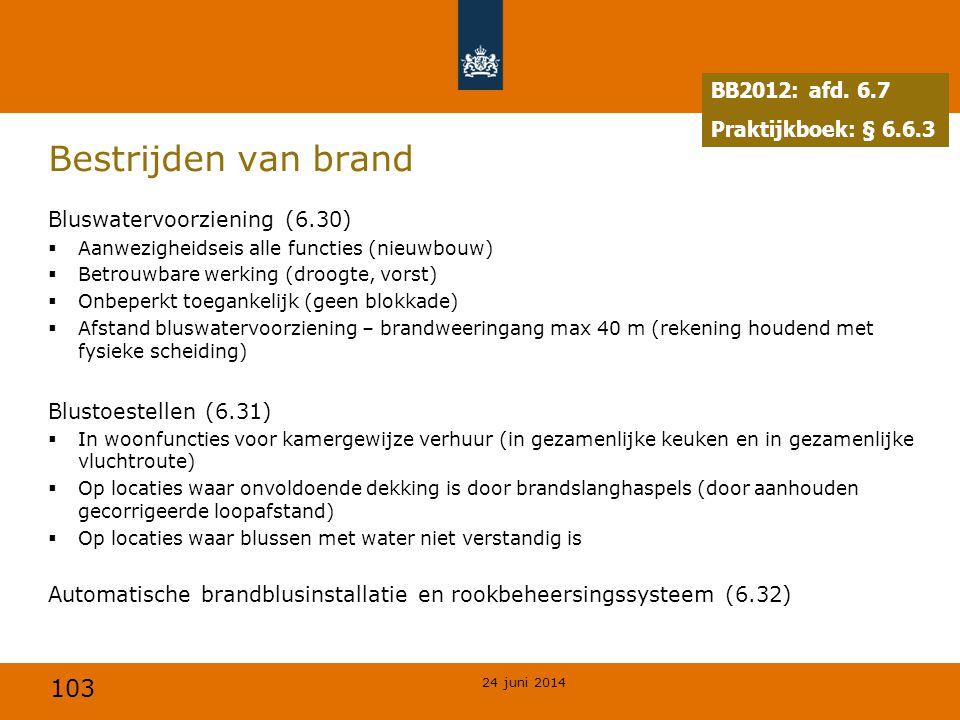 103 Bestrijden van brand Bluswatervoorziening (6.30)  Aanwezigheidseis alle functies (nieuwbouw)  Betrouwbare werking (droogte, vorst)  Onbeperkt t