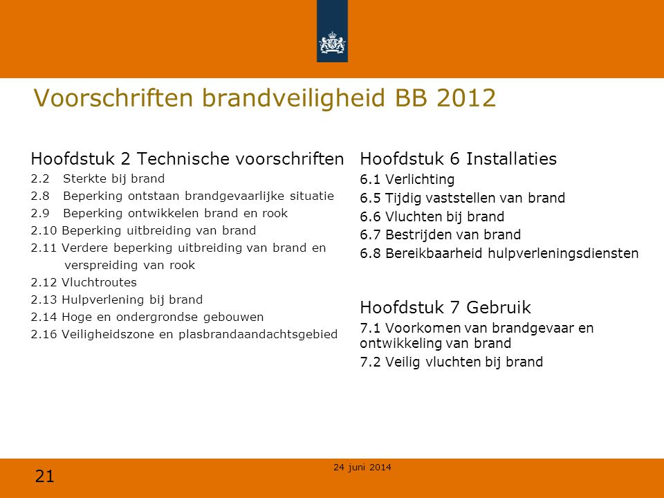21 Voorschriften brandveiligheid BB 2012 Hoofdstuk 2 Technische voorschriften 2.2 Sterkte bij brand 2.8 Beperking ontstaan brandgevaarlijke situatie 2