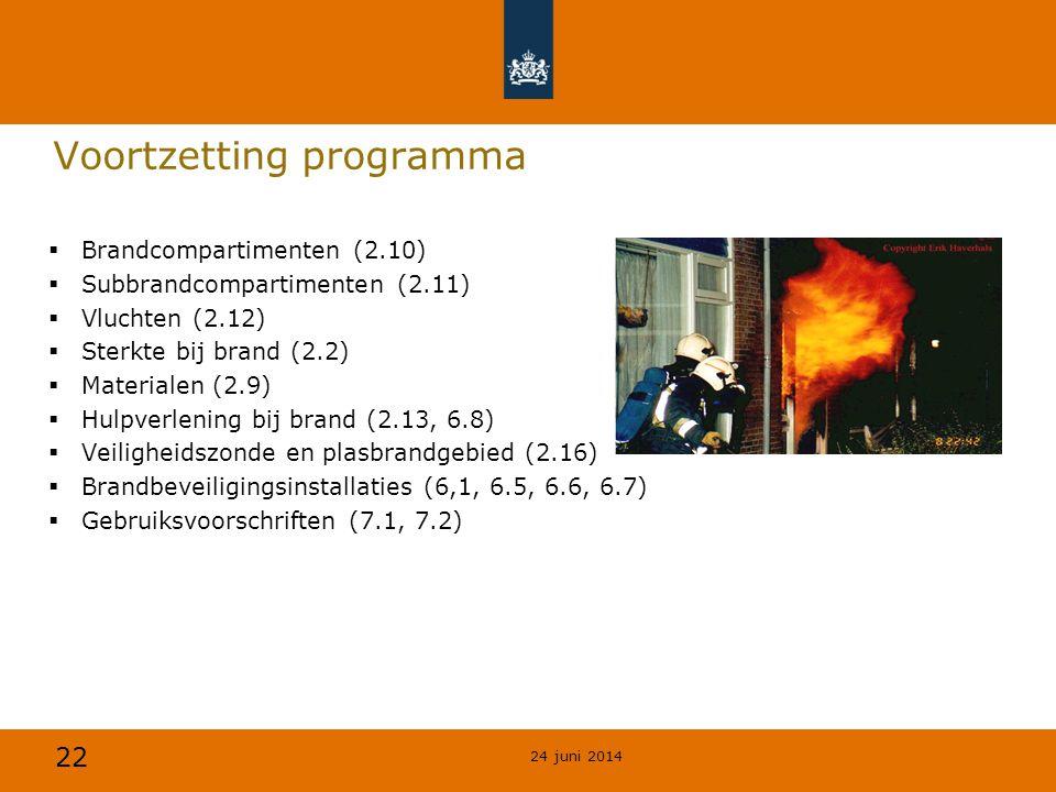 22 Voortzetting programma  Brandcompartimenten (2.10)  Subbrandcompartimenten (2.11)  Vluchten (2.12)  Sterkte bij brand (2.2)  Materialen (2.9)