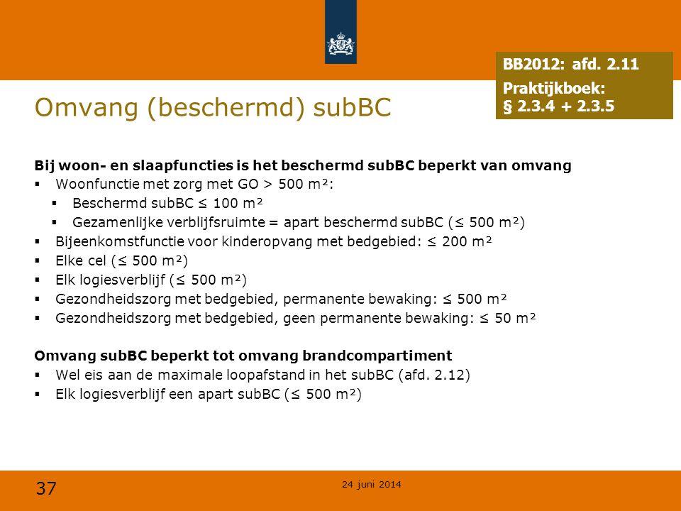 37 Omvang (beschermd) subBC Bij woon- en slaapfuncties is het beschermd subBC beperkt van omvang  Woonfunctie met zorg met GO > 500 m²:  Beschermd s