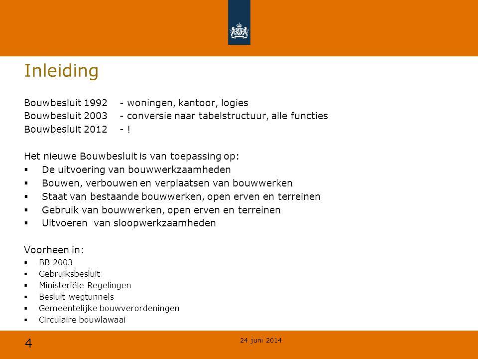 4 Inleiding Bouwbesluit 1992- woningen, kantoor, logies Bouwbesluit 2003- conversie naar tabelstructuur, alle functies Bouwbesluit 2012- ! Het nieuwe