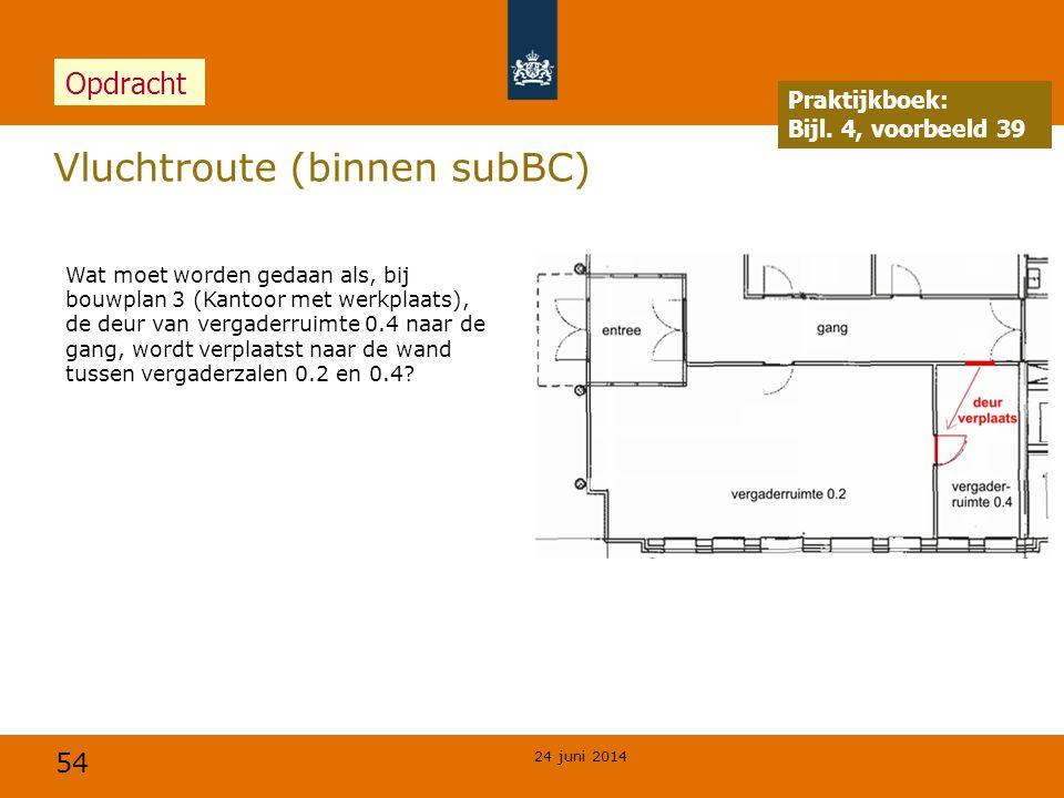 54 Vluchtroute (binnen subBC) 24 juni 2014 Opdracht Praktijkboek: Bijl. 4, voorbeeld 39 Wat moet worden gedaan als, bij bouwplan 3 (Kantoor met werkp