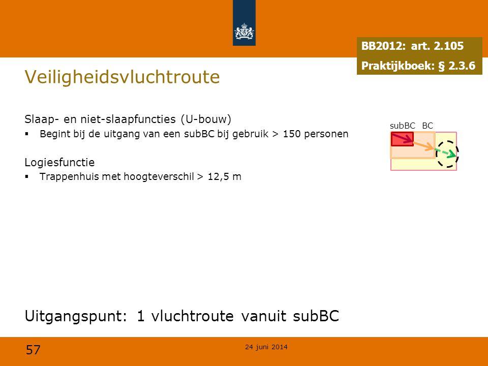 57 Veiligheidsvluchtroute Slaap- en niet-slaapfuncties (U-bouw)  Begint bij de uitgang van een subBC bij gebruik > 150 personen Logiesfunctie  Trapp