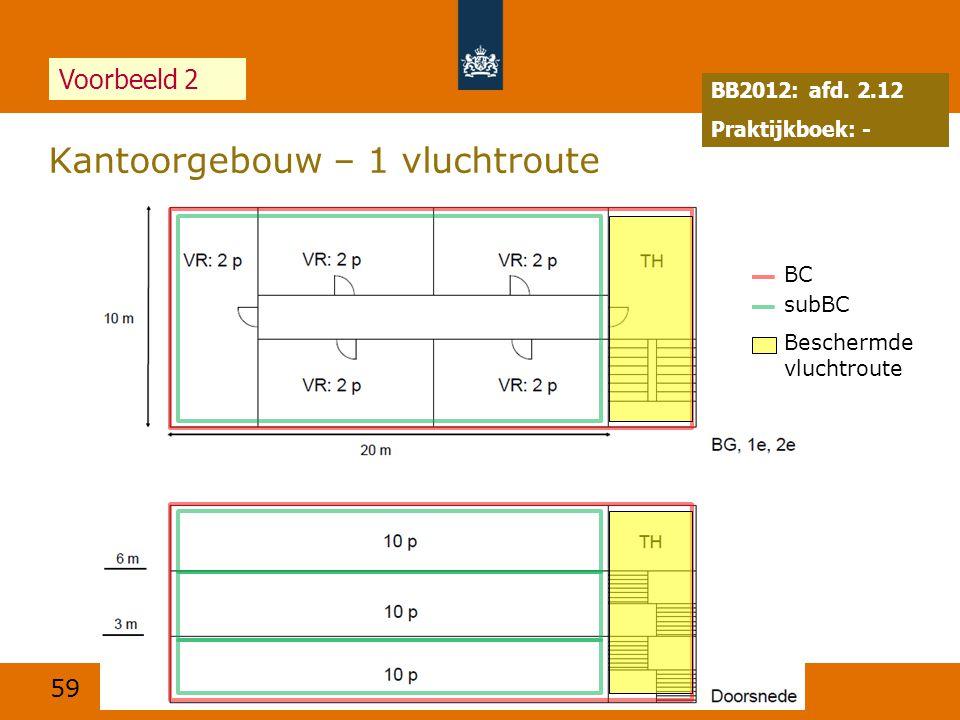 59 Kantoorgebouw – 1 vluchtroute 24 juni 2014 Voorbeeld 2 BB2012: afd. 2.12 Praktijkboek: - BC subBC Beschermde vluchtroute