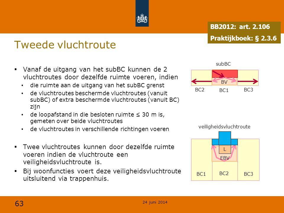 63 Tweede vluchtroute  Vanaf de uitgang van het subBC kunnen de 2 vluchtroutes door dezelfde ruimte voeren, indien • die ruimte aan de uitgang van he