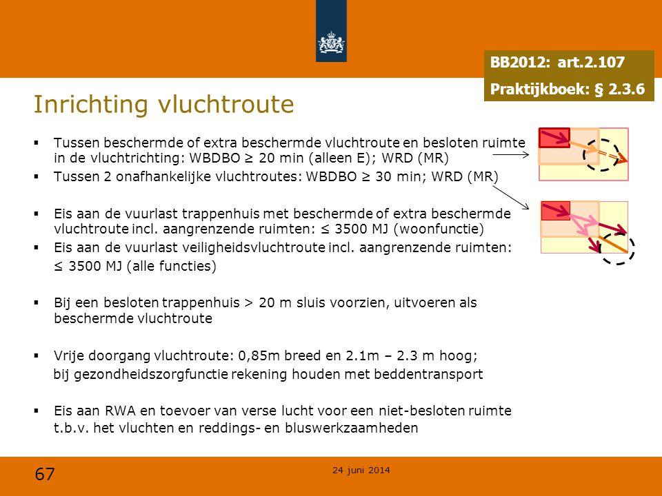 67 Inrichting vluchtroute  Tussen beschermde of extra beschermde vluchtroute en besloten ruimte in de vluchtrichting: WBDBO ≥ 20 min (alleen E); WRD