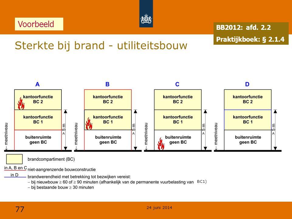 77 24 juni 2014 Sterkte bij brand - utiliteitsbouw BB2012: afd. 2.2 Praktijkboek: § 2.1.4 Voorbeeld BC1)
