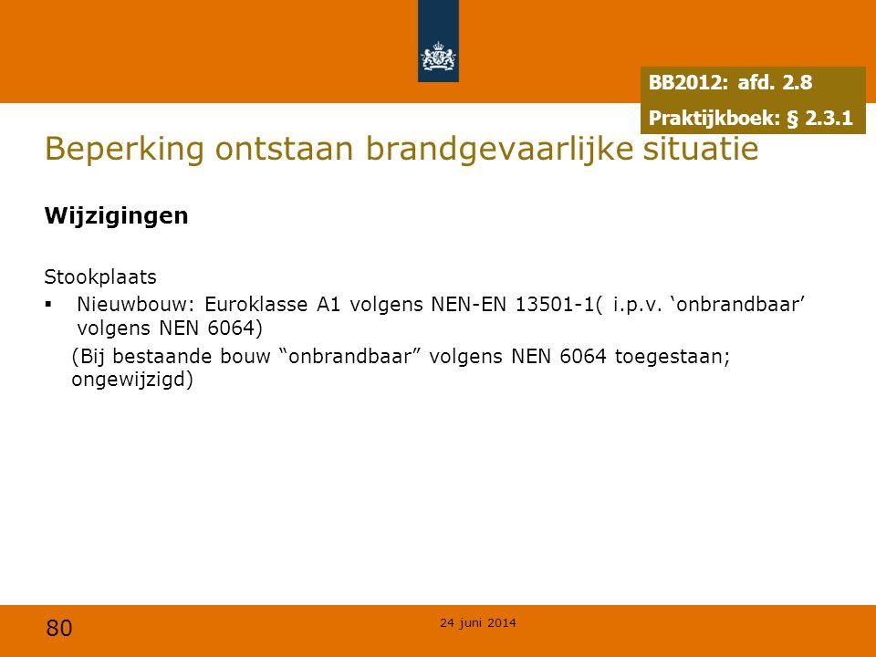 80 Beperking ontstaan brandgevaarlijke situatie Wijzigingen Stookplaats  Nieuwbouw: Euroklasse A1 volgens NEN-EN 13501-1( i.p.v. 'onbrandbaar' volgen