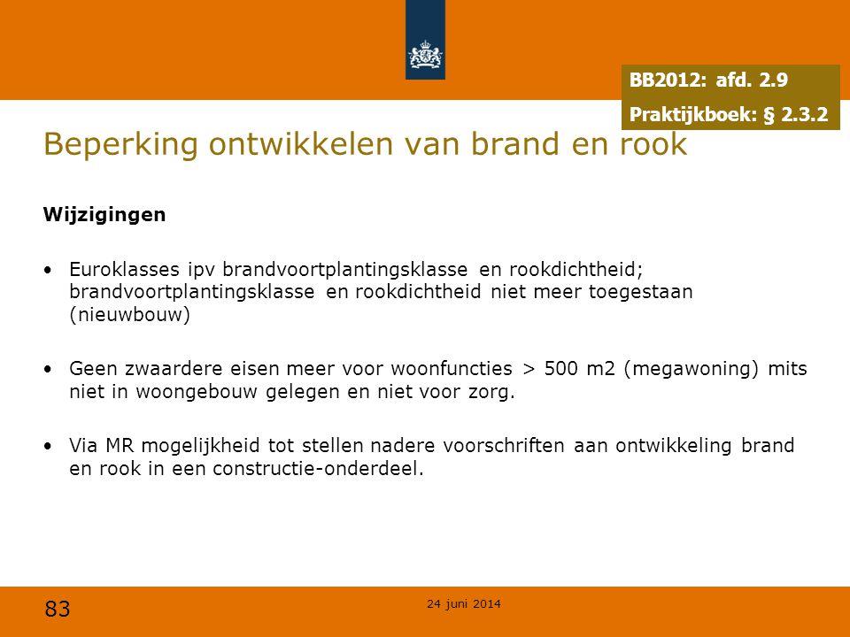 83 Beperking ontwikkelen van brand en rook Wijzigingen •Euroklasses ipv brandvoortplantingsklasse en rookdichtheid; brandvoortplantingsklasse en rookd