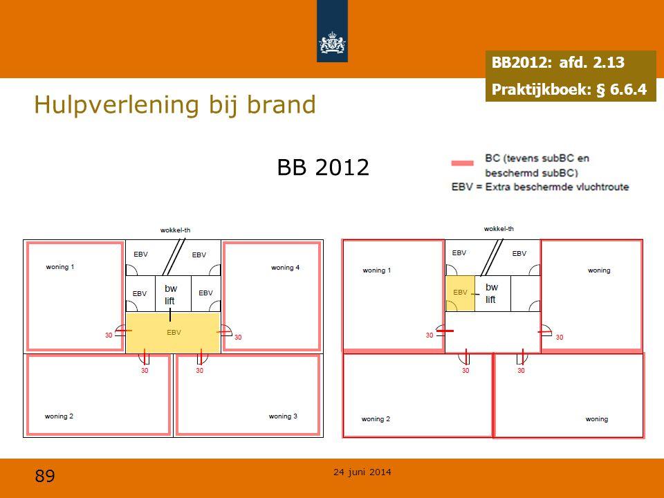 89 Hulpverlening bij brand BB2012: afd. 2.13 Praktijkboek: § 6.6.4 BB 2012 24 juni 2014