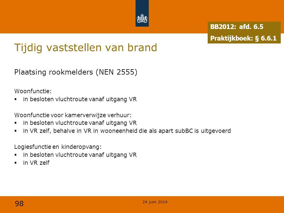 98 Tijdig vaststellen van brand Plaatsing rookmelders (NEN 2555) Woonfunctie:  in besloten vluchtroute vanaf uitgang VR Woonfunctie voor kamerverwijz