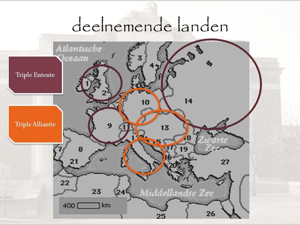 WOI • Wanneer? • 2 grote partijen/verbonden – Triple Entente – Triple Alliantie 1914 1918