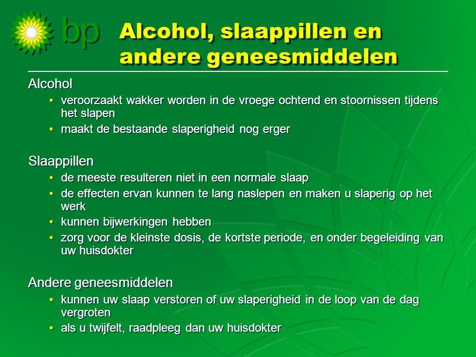 Alcohol •veroorzaakt wakker worden in de vroege ochtend en stoornissen tijdens het slapen •maakt de bestaande slaperigheid nog erger Slaappillen •de m
