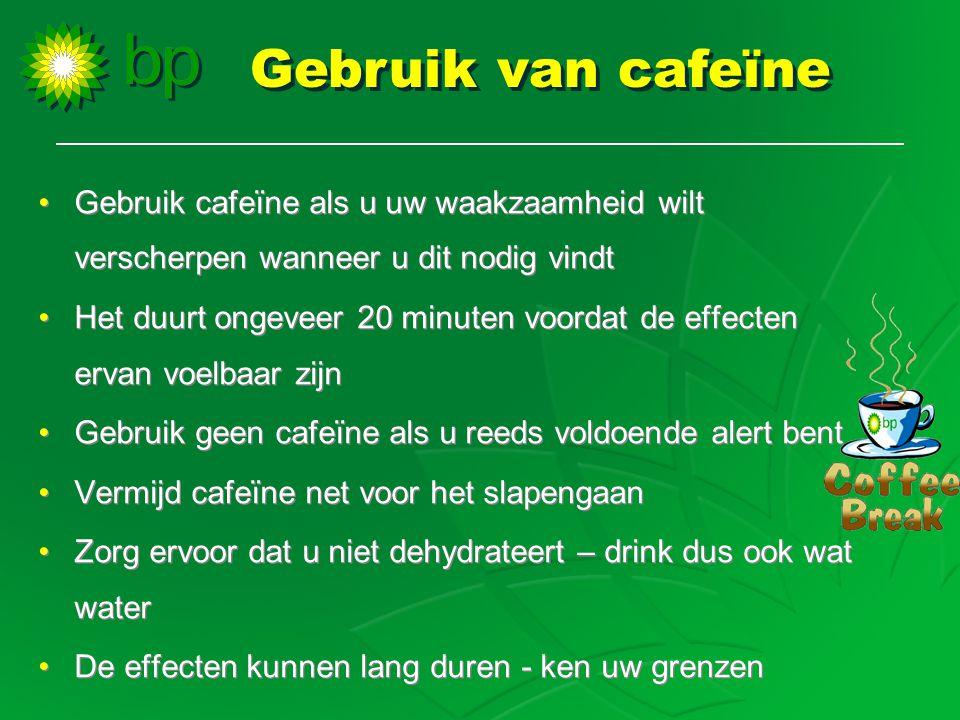 •Gebruik cafeïne als u uw waakzaamheid wilt verscherpen wanneer u dit nodig vindt •Het duurt ongeveer 20 minuten voordat de effecten ervan voelbaar zi
