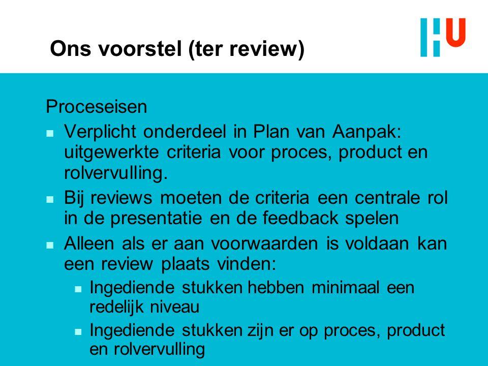 Ons voorstel (ter review) Proceseisen n Verplicht onderdeel in Plan van Aanpak: uitgewerkte criteria voor proces, product en rolvervulling. n Bij revi