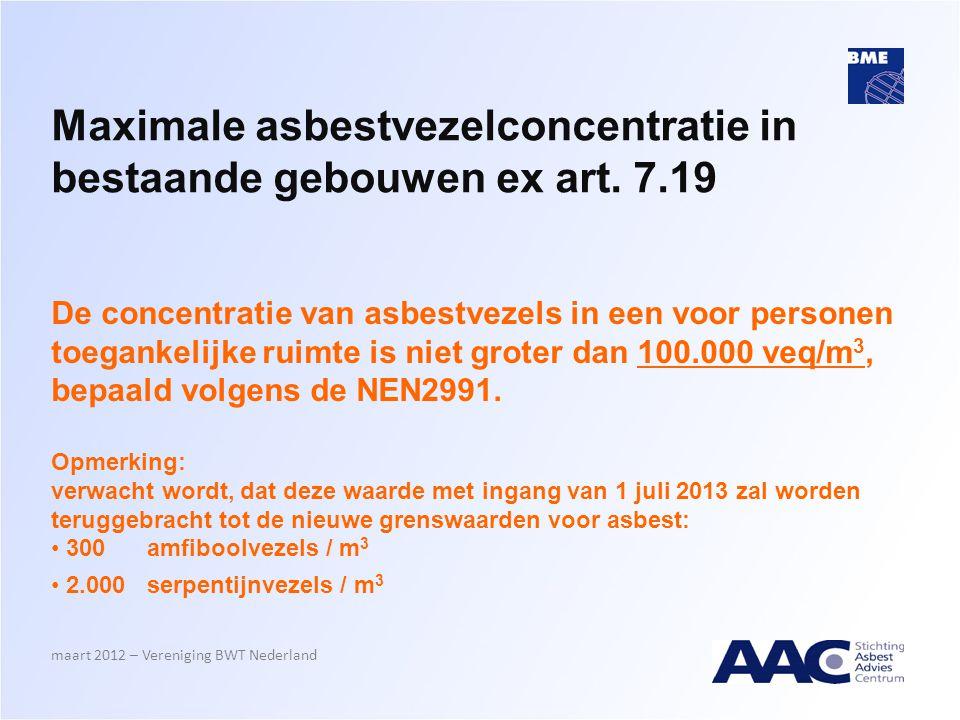 Maximale asbestvezelconcentratie in bestaande gebouwen ex art. 7.19 De concentratie van asbestvezels in een voor personen toegankelijke ruimte is niet